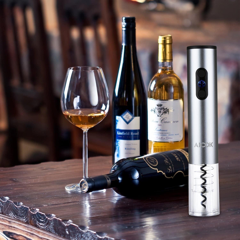 Aicok Cavatappi Elettrico Apribottiglie Elettronico Professionale per Vino Bottle Opener con Free Foil Cutter Removibile
