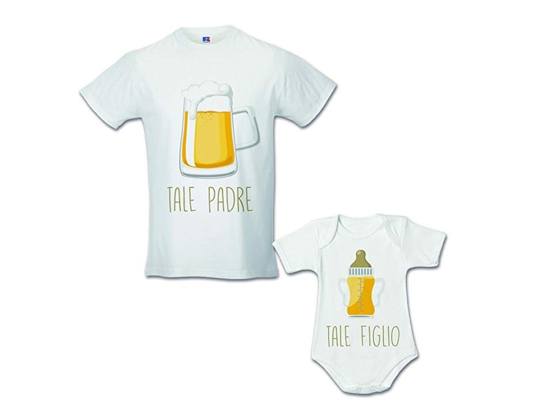 Idea Regalo Coppia di T-Shirt Papa' Figlio Tale Padre Tale Figlio - Birra Bianche Uomo S - Bimbo 1 Mese