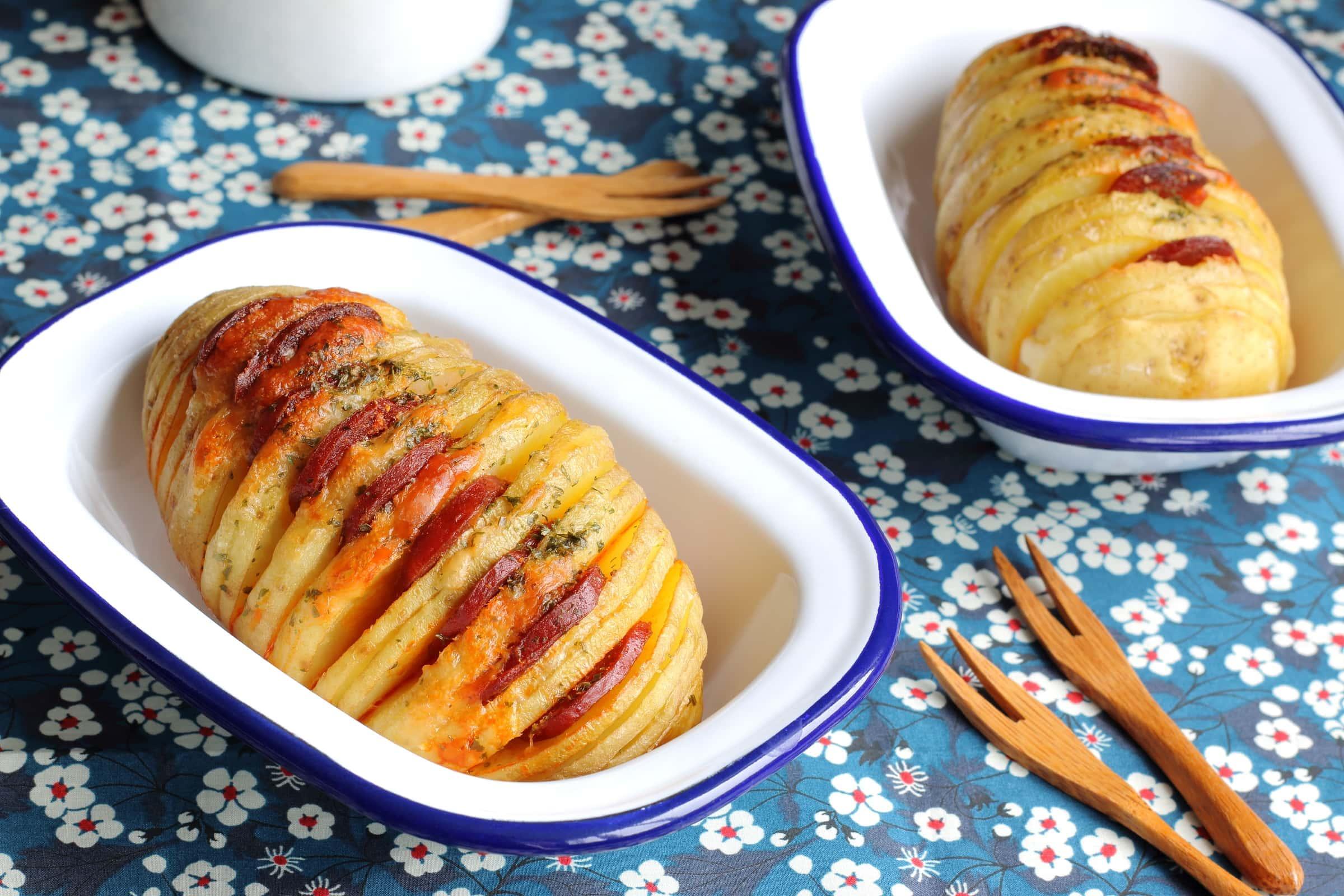 Ricetta Patate Hasselback con Würstel