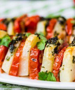 Ricetta Spiedini Vegetariani Con Patate Pomodoro E Peperoni