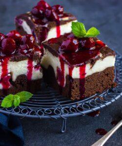 Ricetta Brownies Cheesecake Con Salsa Al Ribes