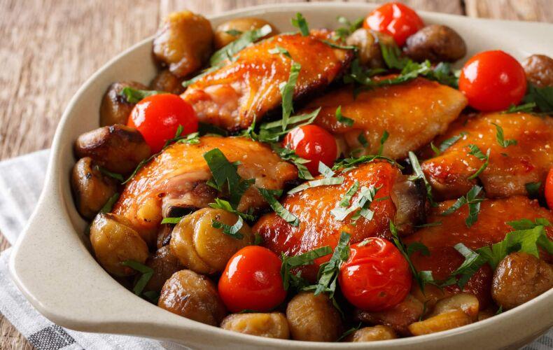 Ricetta Pollo Con Castagne Al Forno