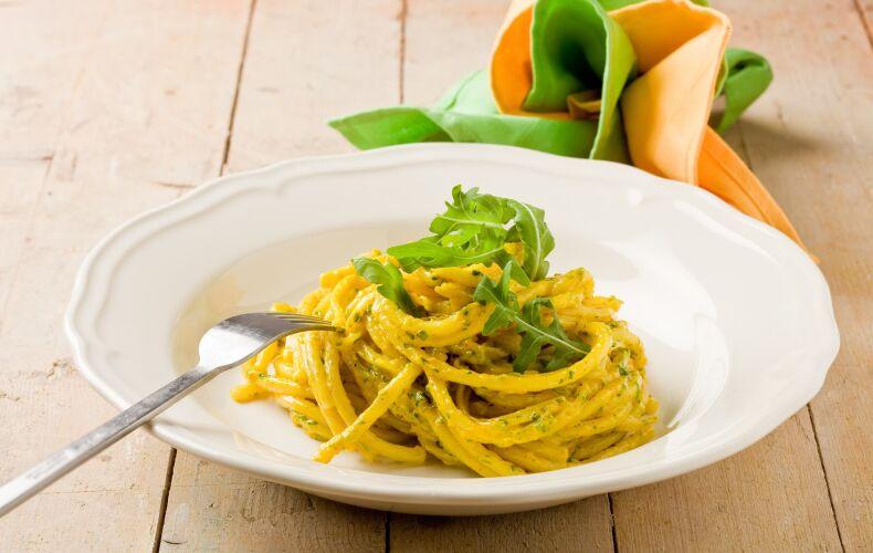 Ricetta Pasta Allo Zafferano E Pesto 1